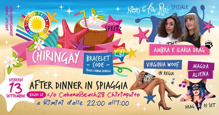 Chiringay | a Piedi Nudi Sulla Spiaggia in Rimini le Fr 13. September, 2019 22.00 bis 01.00 (After-Work Gay, Lesbierin, Transsexuell, Bi)