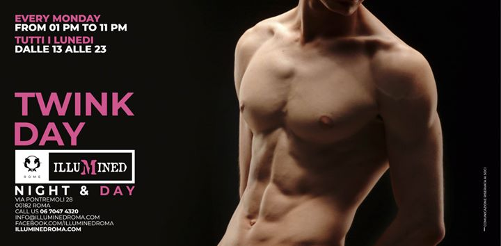TWINK DAY a Illumined SAUNA [roma] à Rome le lun. 29 avril 2019 de 13h00 à 22h00 (Sexe Gay)
