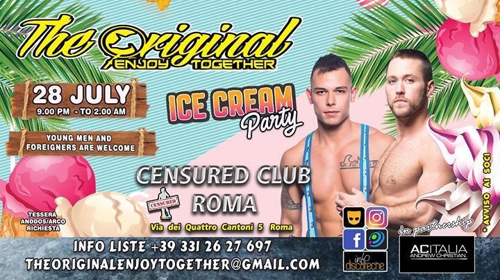 The Original Enjoy Together - Ice Cream Party in Rome le Sun, July 28, 2019 from 09:00 pm to 02:00 am (Clubbing Gay)