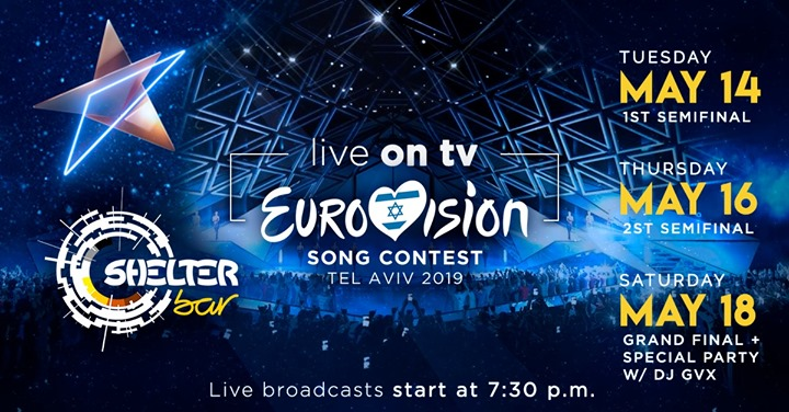 里斯本Eurovision 2019 - Live on TV [Shelter Bar Lisboa]2019年 7月18日,19:30(男同性恋, 熊 下班后的活动)