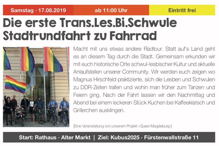 MagdeburgDie erste Trans Les Bi Schwule Stadtrundfahrt zu Fahrrad2019年11月17日,11:00(男同性恋, 女同性恋, 变性, 双性恋 节日)