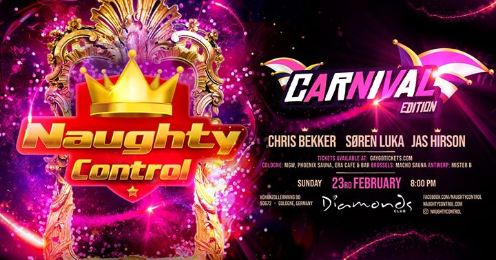 Naughtycontrol XXL – Carnival Festival Cologne Closing Party in Koln le Sun, February 23, 2020 from 08:00 pm to 05:30 am (Clubbing Gay)