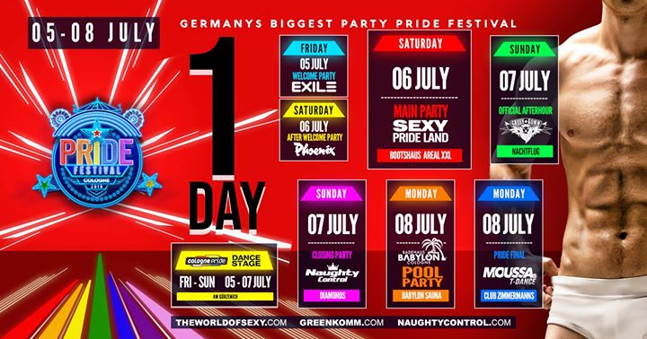 Pride Festival Cologne 2019 by SEXY Greenkomm Naughtycontrol in Köln von  5 bis  8. Juli 2019 (Clubbing Gay)