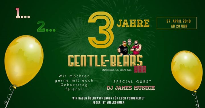 1...2...3 Jahre Gentle Bears Bar ! in Koln le Sat, April 27, 2019 at 08:00 pm (After-Work Gay, Bear)