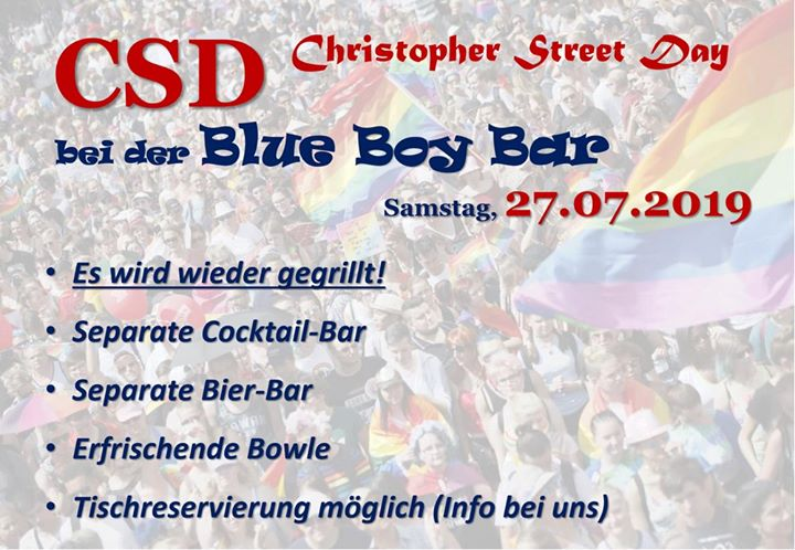 CSD bei der Blue Boy Bar in Berlin le Sat, July 27, 2019 from 11:00 am to 11:00 pm (After-Work Gay)