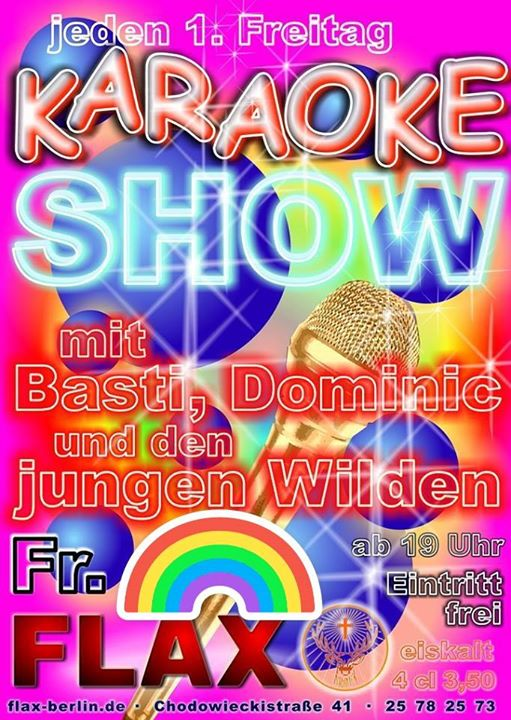 KaraokeShow in Berlin le Fri, September  6, 2019 from 07:00 pm to 05:00 am (Clubbing Gay)