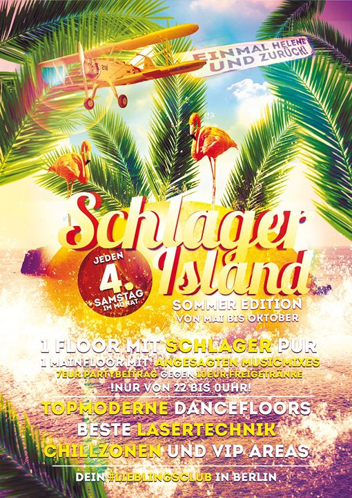 ☼ Schlager•ISLAND ☼ Sommer-Edition ☼ Schlager PUR☼ in Berlin le Sat, October 26, 2019 from 10:00 pm to 07:00 am (Ceremonies Gay, Lesbian)
