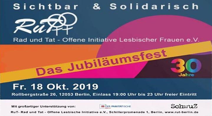 30 Jahre RuT e.V. - Das Jubiläumsfest em Berlim le sex, 18 outubro 2019 19:00-02:00 (After-Work Gay)
