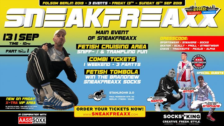 Sneakfreaxx Part 1/2 • Folsom 2019 • Berlin in Berlin le Fr 13. September, 2019 22.00 bis 06.00 (Clubbing Gay)