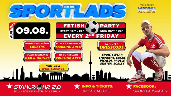 Sportlads 08/2019 ★ Every 2nd Friday ★ Since 2012 in Berlin ★ a Berlino le ven  9 agosto 2019 22:00-05:00 (Sesso Gay)