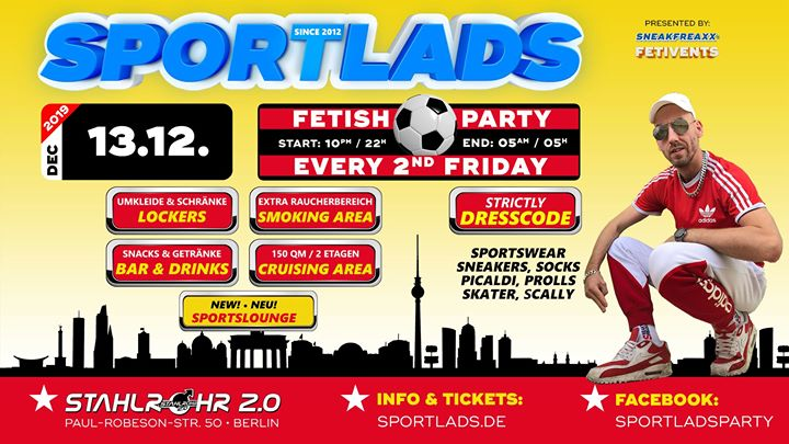 柏林Sportlads 12/2019 ★ Every 2nd Friday ★ Since 2012 in Berlin ★2019年10月13日,22:00(男同性恋 性别)