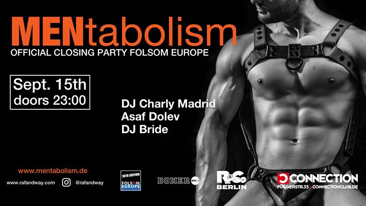 Folsom Europe - official closing party by MENtabolism in Berlin le Sun, September 15, 2019 from 11:00 pm to 07:00 am (Clubbing Gay)
