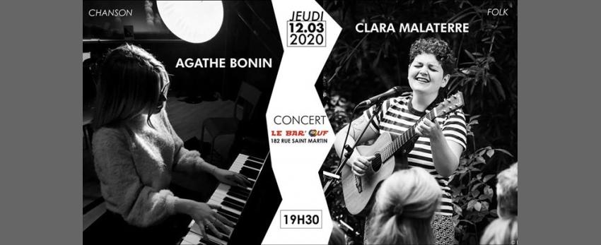 Concert Live // Clara Malaterre x Agathe Bonin // Le Bar'Ouf