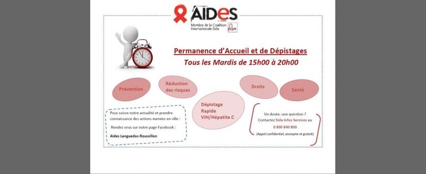 Permanence d'Accueil/Dépistage les Mardis - AIDES Montpellier