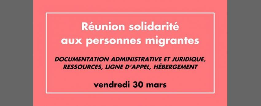Réunion publique : solidarité avec les personnes migrantes