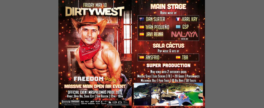 FREEDOM Party - Dirty West - Massive Main Event Maspalomas Pride