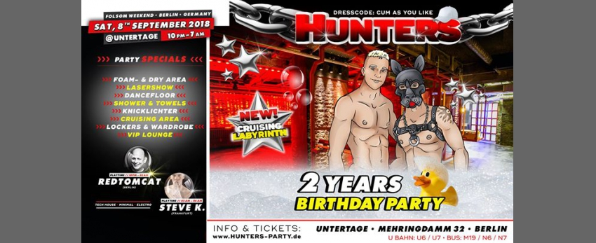 Hunters • 2 Years Birthday Party • Schaumparty • Folsom 2018